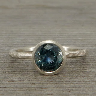 Fair trade teal blue sapphire recycled 14k white gold ring