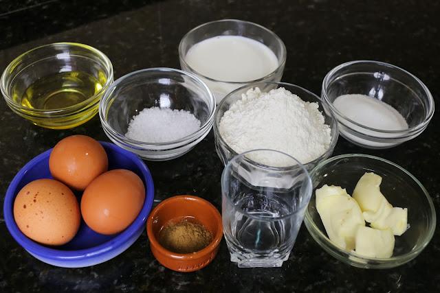 Ingredientes para buñuelos de viento