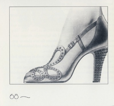 Black and white pencil and paper drawing of Roger Vivier Queen Elizabeth II Coronation Shoes