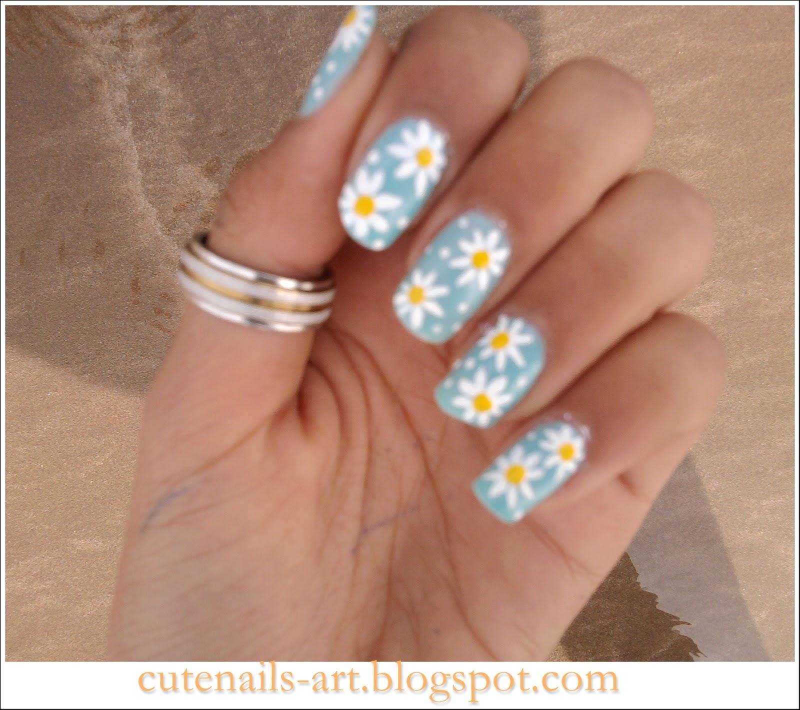 cutenails-art: spring nails art : Daisy flowers