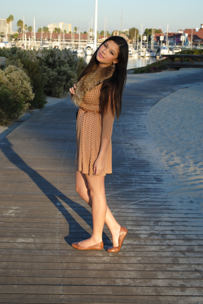 brown flats outfit, polka dot dress, Queen's Wardrobe, Arafeel, Long Beach, Shoreline Aquatic Park, California