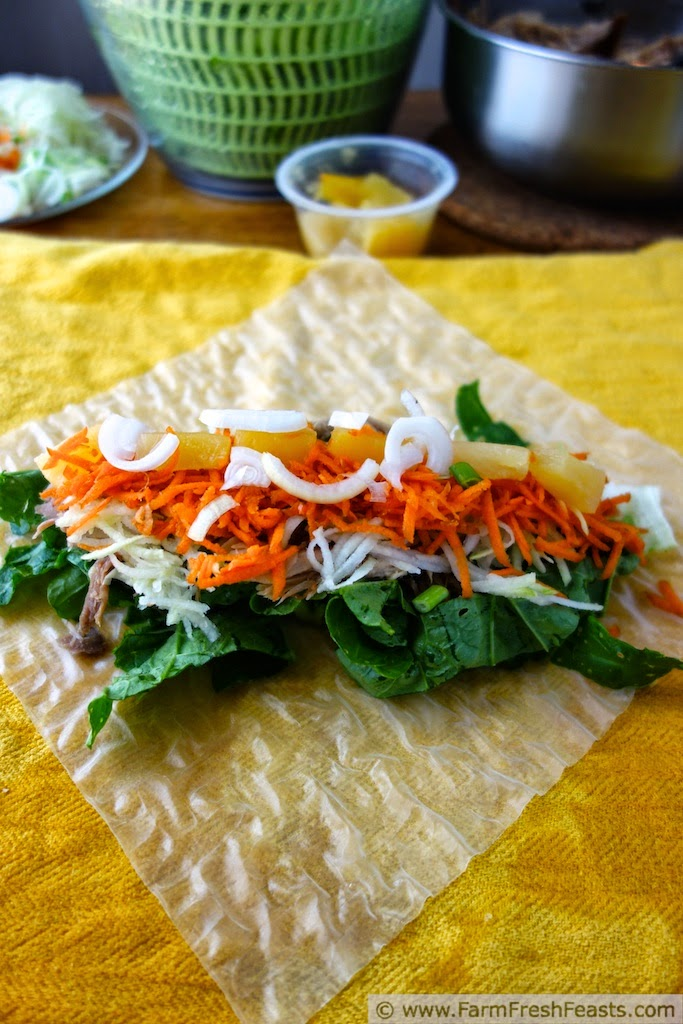 Making Kalua Pig Summer Rolls with Kohlrabi, Carrots and Pineapple | Farm Fresh Feasts
