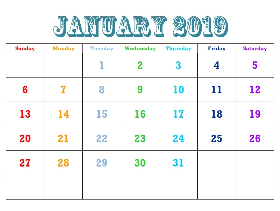 January 2019 Calendar Printable Templates January 2019 Calendar