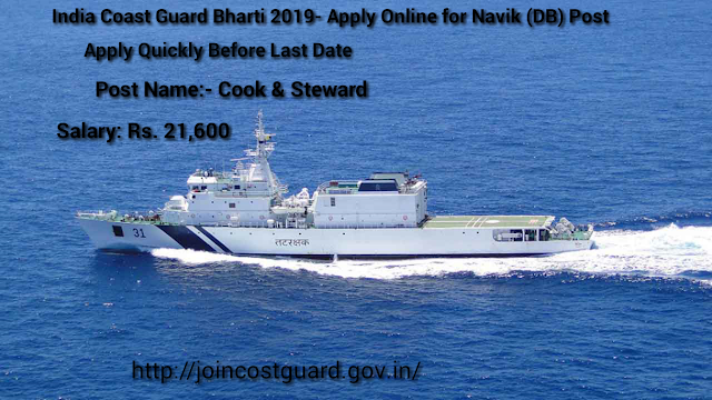 Indian Coast Guard Bharti 2019- Apply Online For Navik (DB) Posts