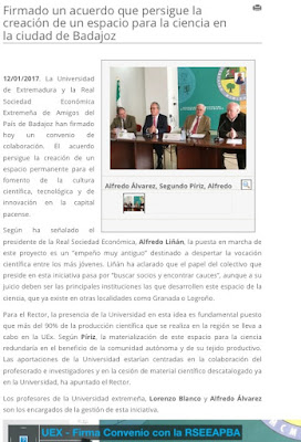 Convenio Universidad de Extremadura RSEEAP Museo de la Ciencia