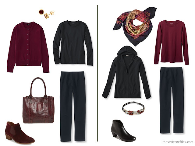 Capsule wardrobe colour palette inspiration - a drop of wine with black