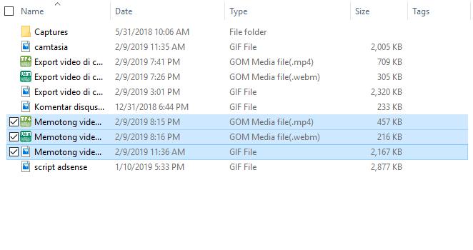 Hasil convert file gif ke WebM dan mp4