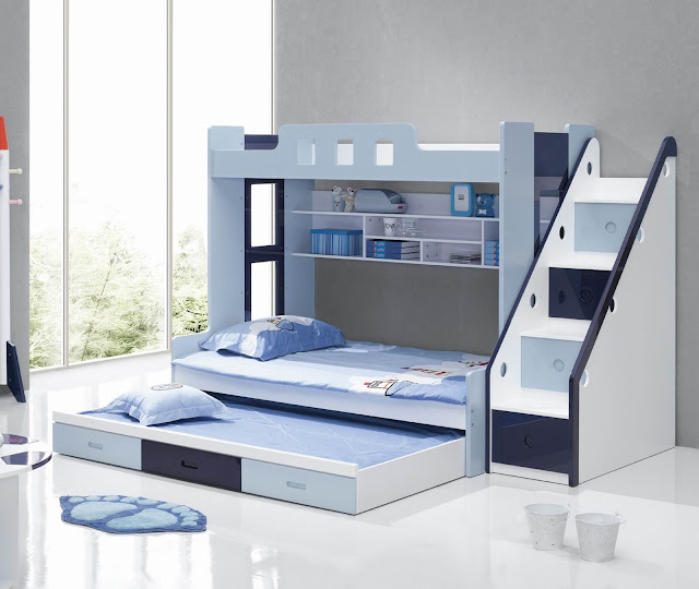 modern bunk beds with blue accent completed with white wall mounted shelf and stair