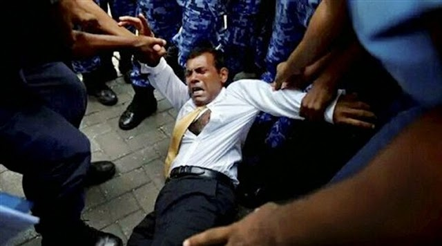 Ex President Mohamed Nasheed of Maldives Dragged Into Court to Face Terrorism Charges (Photos)