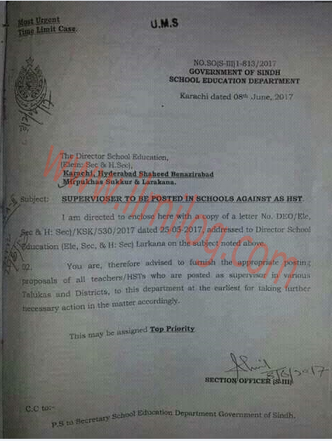 Supervisor-to-be-Posted-in-Schools-Against-as-HST-Government-of-Sindh-Education-Department