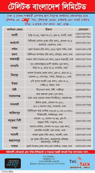 Teletalk Customer Care Adreass in Dhaka for 3G SIM,Telecharge,Modem,Mifi, Pocket Router and Services