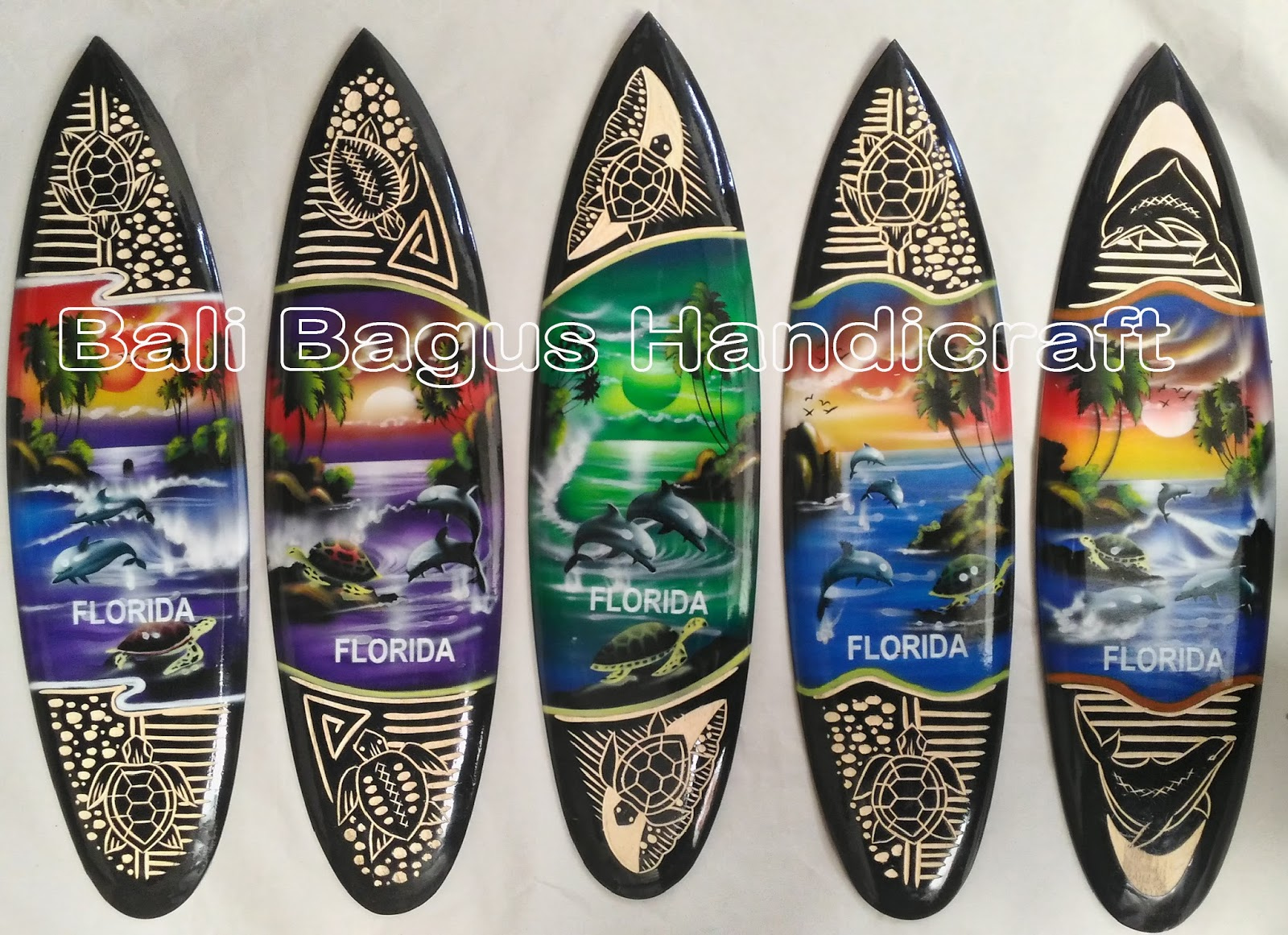 Bali Souvenirs Miniature Surf Board Carved Airbrush Dot