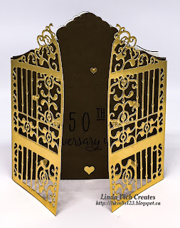 Linda Vich Creates: Detailed Gate 50th Anniversary. The Detailed Gate Thinlits are used to create golden gates for this 50th Anniversary card.