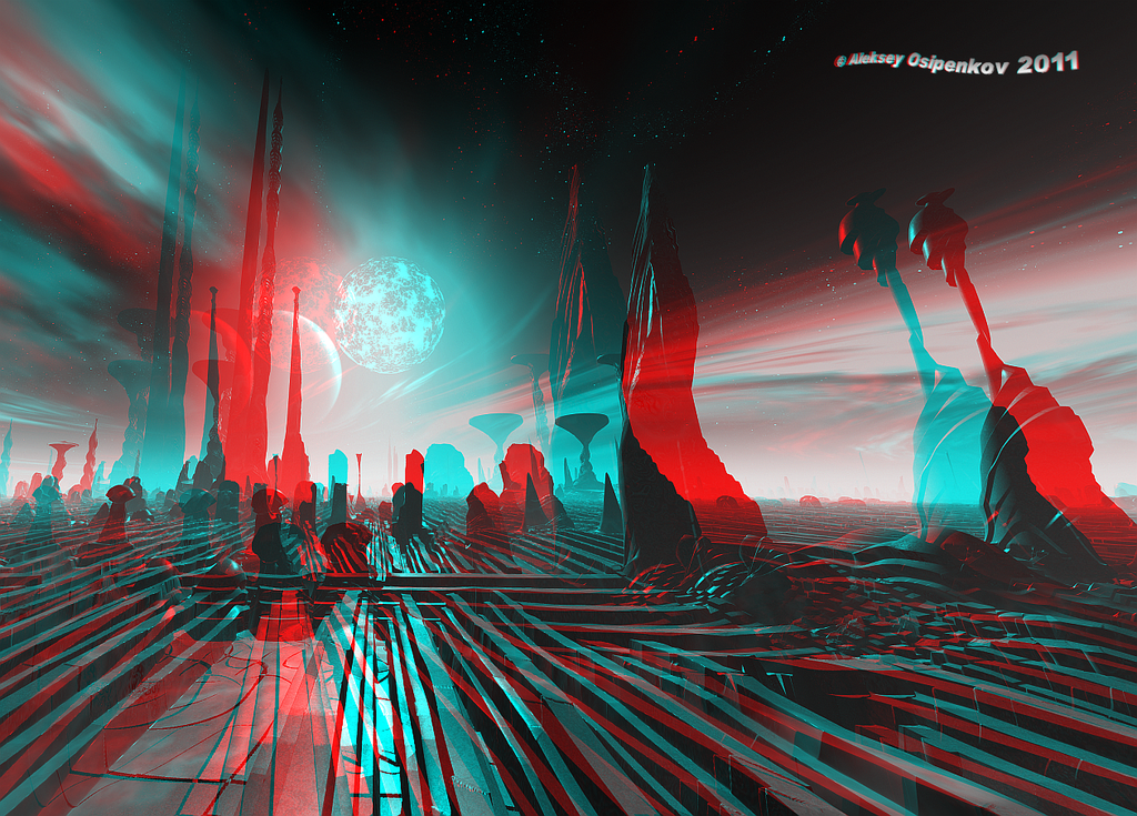3d Wallpaper Hd 1920x1080 I Think Therefor I Am Anaglyph Image
