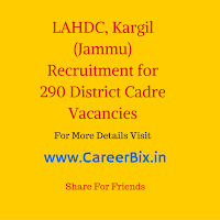 LAHDC, Kargil (Jammu) Recruitment for 290 District Cadre Vacancies