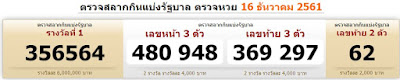 Thailand lottery Result For 16-12-2018