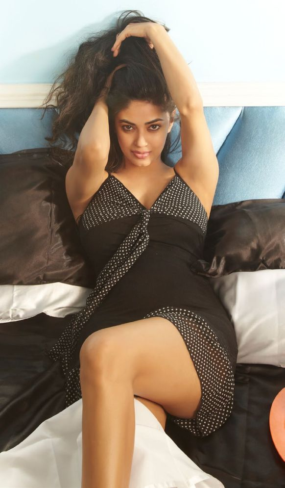 Gorgeous sexy Meera chopra in night dress on bad for fhm july 2013 hot photoshoot