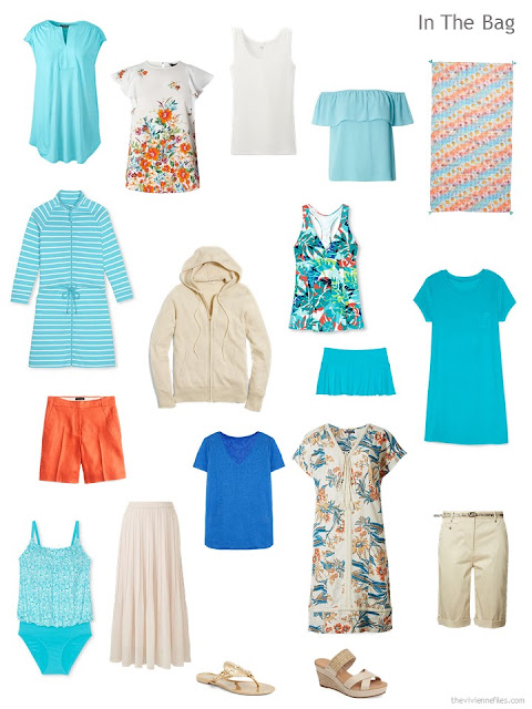 what to pack for a warm-weather trip to the Florida Gulf coast, in beige, aqua, blue and orange
