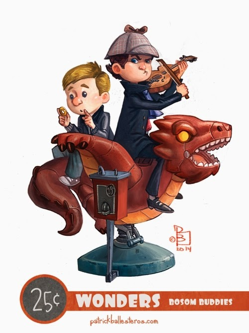 05-Sherlock-Holmes-and-Dr-Watson-Patrick-Ballesteros-25-Cent-Wonders-Drawings-www-designstack-co