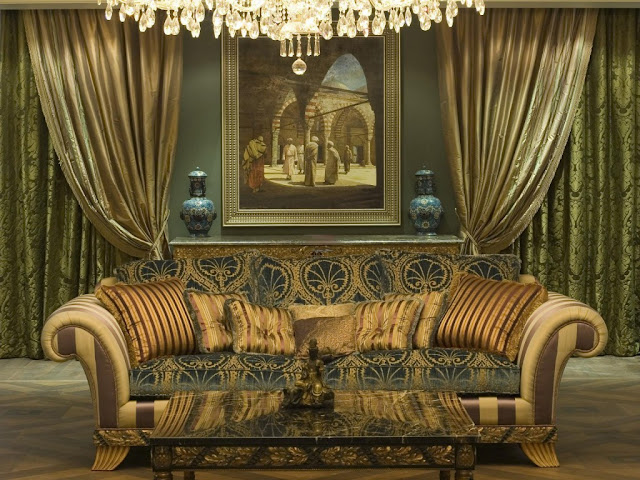 luxury living room curtains in silk fabric with matching sofa