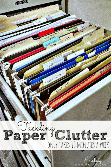 Need ideas on how to get rid of paper clutter?  Check out these solutions.
