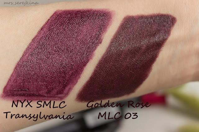Golden Rose Matte Lipstick Crayon 03 vs NYX SMLC Transylvania