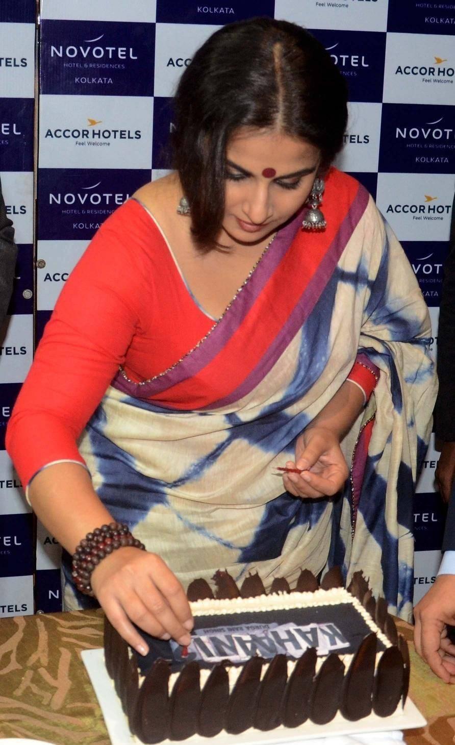 Actress Vidya Balan In Blue Saree At Movie Promotions