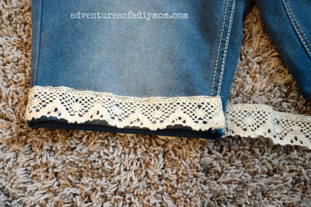 add lace to cutoff shorts