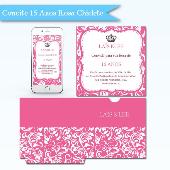 Kit de artes digitais para convite de 15 anos rosa chiclete