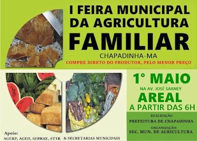 A prefeitura de Chapadinha realizará, a partir do dia 1º de maio, feiras da agricultura familiar