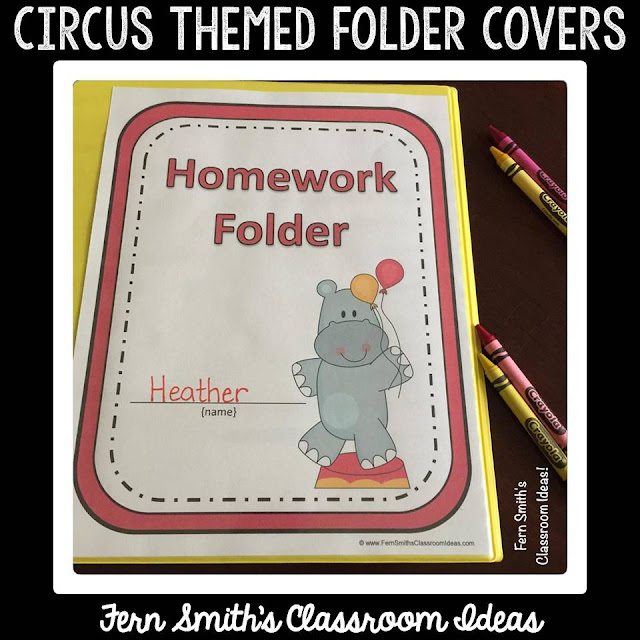 Student Binder Covers - Circus Fun Student Work Folder Cover  Do you use student daily work folders in your classroom? I love how it helped keep my students organized.  Even in first grade they were able to pull out their RED CENTER folder. This helped to eliminate missing work and work stuffed into the back of the desk, that normally would never be seen again!  The circus is a timeless theme, children love the animals, clowns and the circus acts. Is the circus your classroom theme? If so, you will love how inexpensively these folder covers can help with your classroom management. The students can keep certain folders in their desk and other folders, for example, their Homework Folder, can be in a bucket at the door for a parent volunteer to stuff each day.