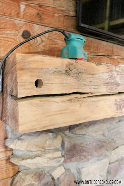 Fireplace beam mantle makeover!