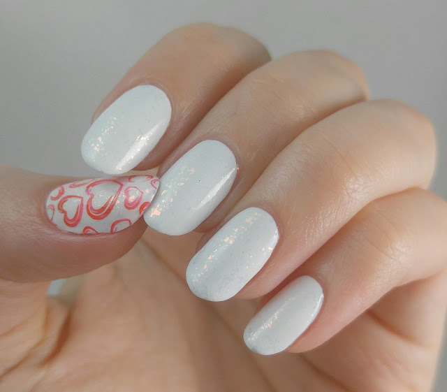 Valentine's Day nails- Seche Calla Lily, Color Club Snow-Flakes, Bundle Monster stamping