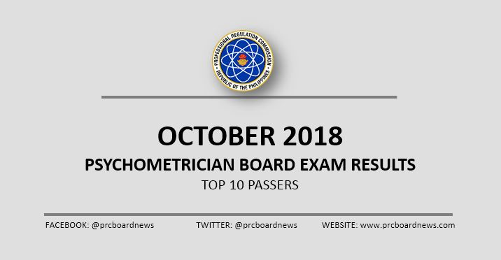 TOP 10 PASSERS: October 2018 Psychometrician board exam result