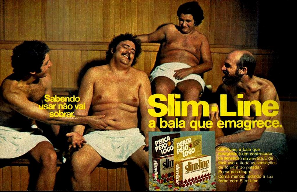 Propaganda da década de 70 das balas para emagrecer Slim-Line