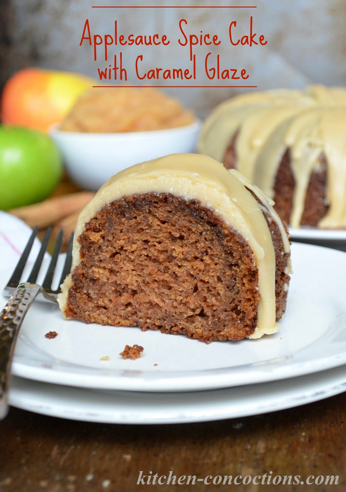 Its Apple Season While This Tender And Moist Applesauce Spice Cake With Gooey Caramel Glaze Uses Fresh Homemade Applesauce Feel Free To Use Store Bought
