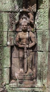Bas-relief of a Dvarapala or door-guardian at BanteayKdei in Angkor, Cambodia