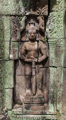 Bas-relief of a Dvarapala or door-guardian at Banteay Kdei in Angkor, Cambodia