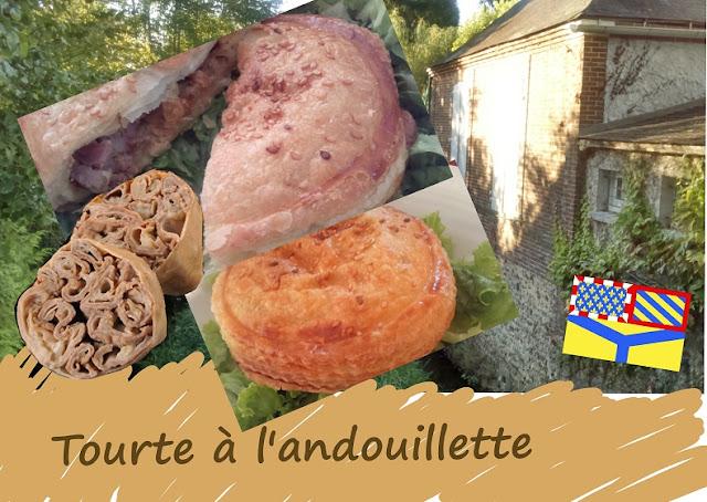 mini tourte à l'andouillette au vin, champignons, cuisine de Bourgogne