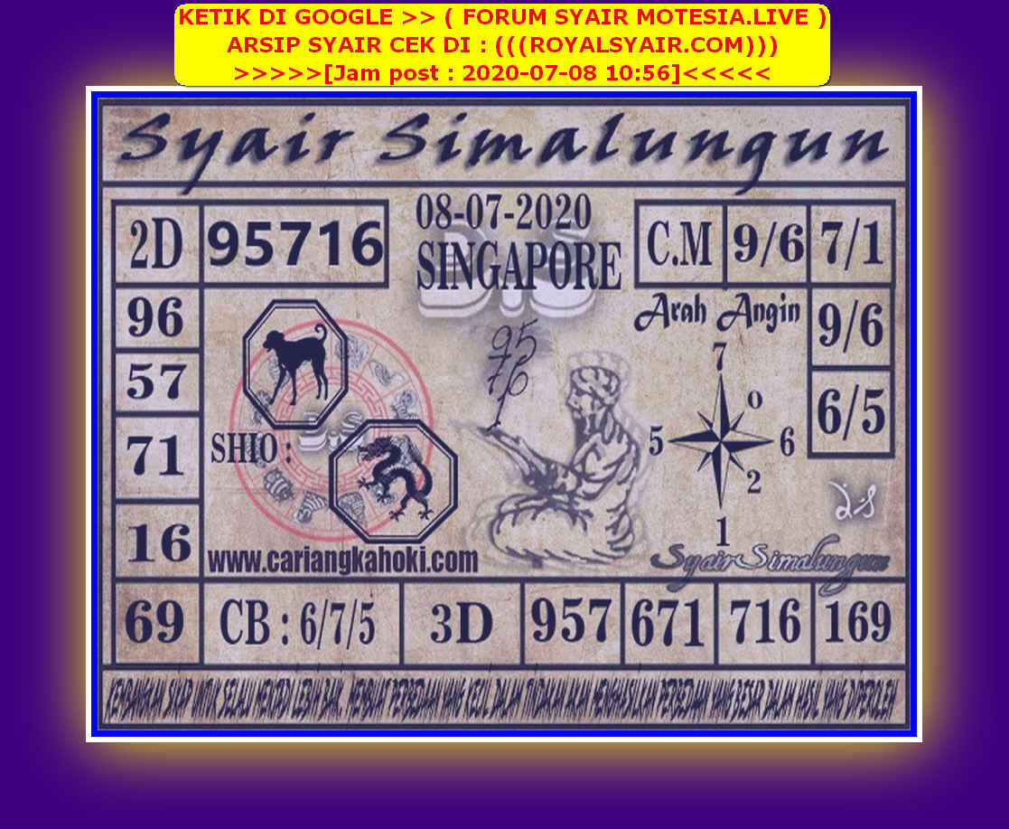 Kode syair Singapore Rabu 8 Juli 2020 110