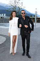 Miranda Kerr shows legs at the Swarovski launch in Austria