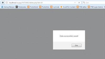 menampilkan pesan data berhasil dihapus dengan Javascript alert