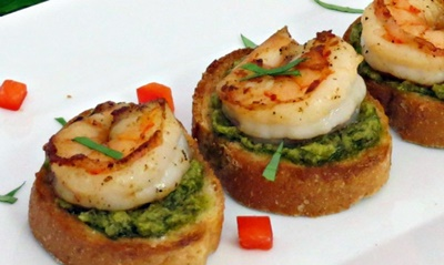 Shrimp And Pesto Crostini