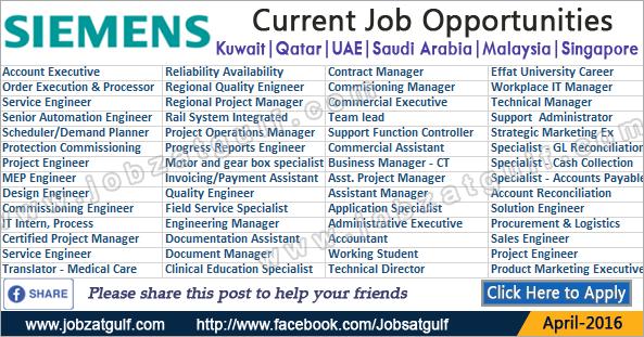 Latest Job Vacancies in SIEMENS - Kuwait | Qatar | UAE ...