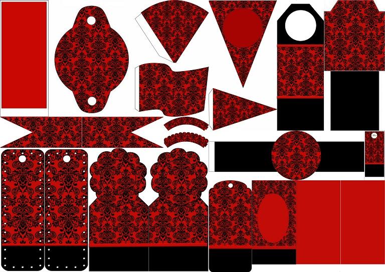 Damasco Negro En Fondo Rojo: Imprimibles Gratis Para