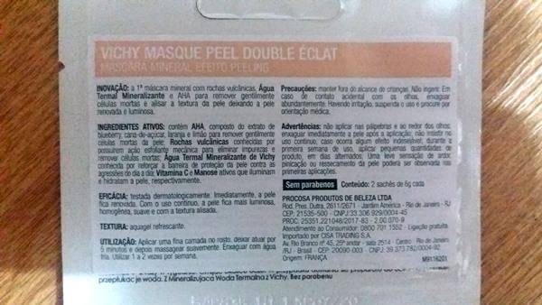 Descrição da Máscara Mineral Efeito Peeling da VICHY