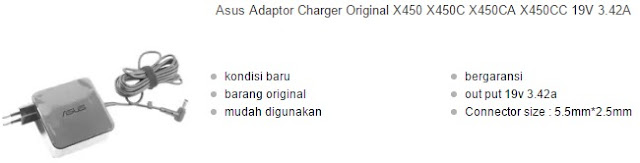 harga charger laptop asus x450 original