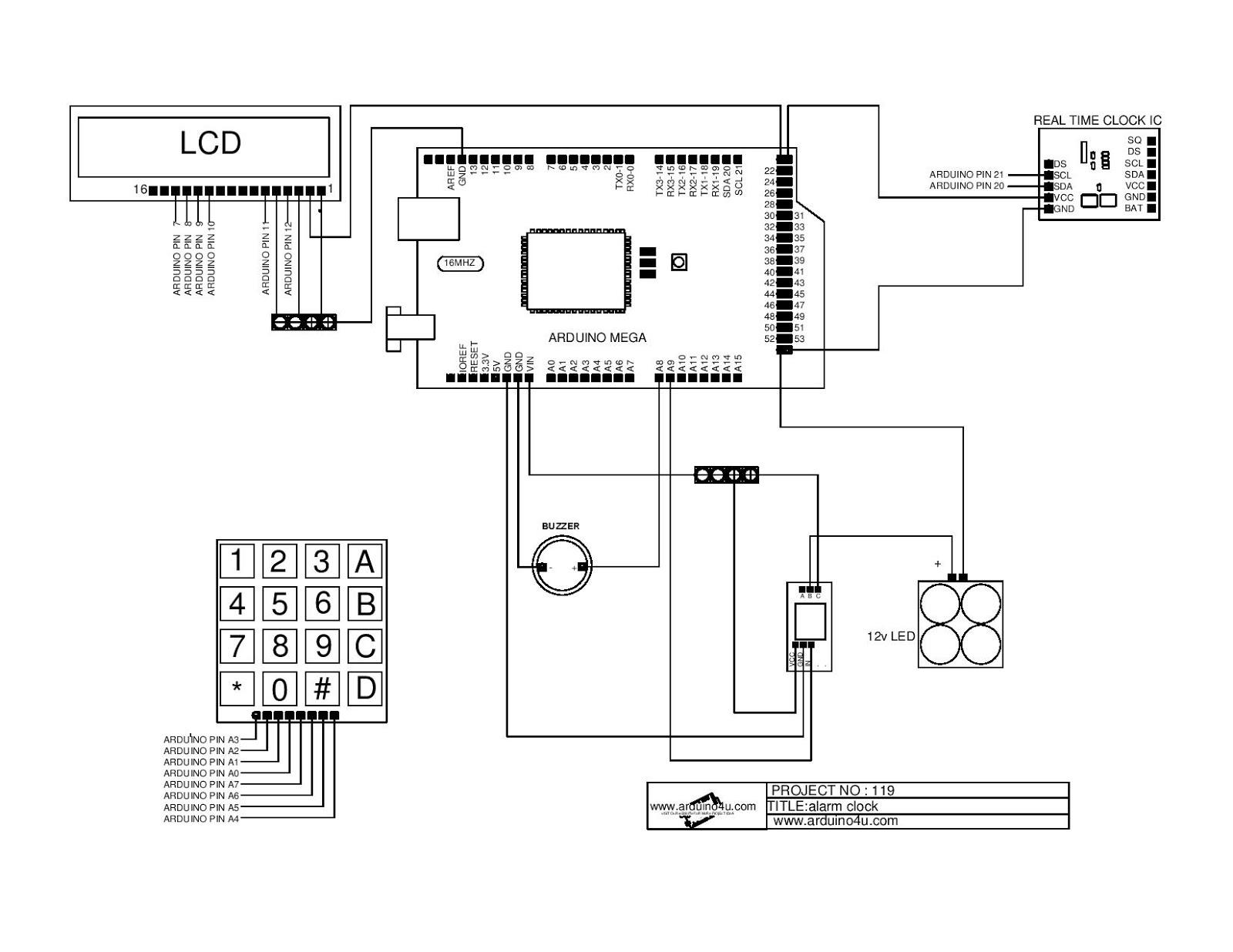 Projek Elektronik Arduino4u 119 Alarm Clock