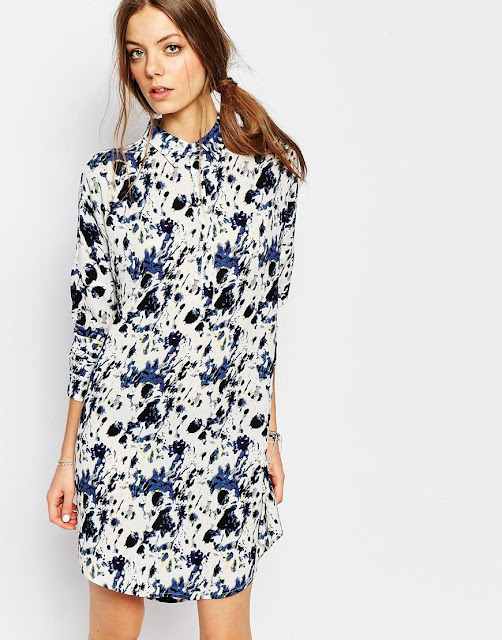suncoo floral print shirt dress,