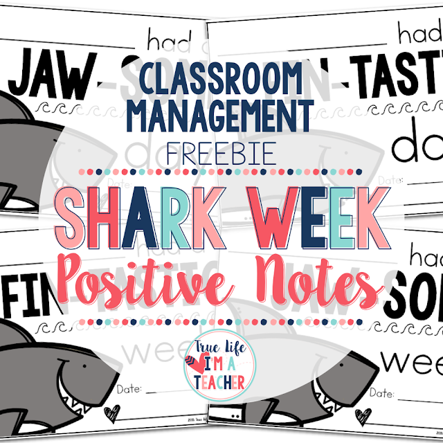 Use these free shark themed positive notes with any classroom management strategy! They're perfect for the beginning of the year!
